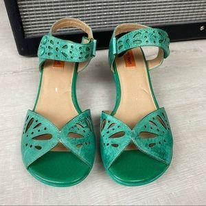 Miz Mooz Cortlyn Green Leather Low Heel Sandal